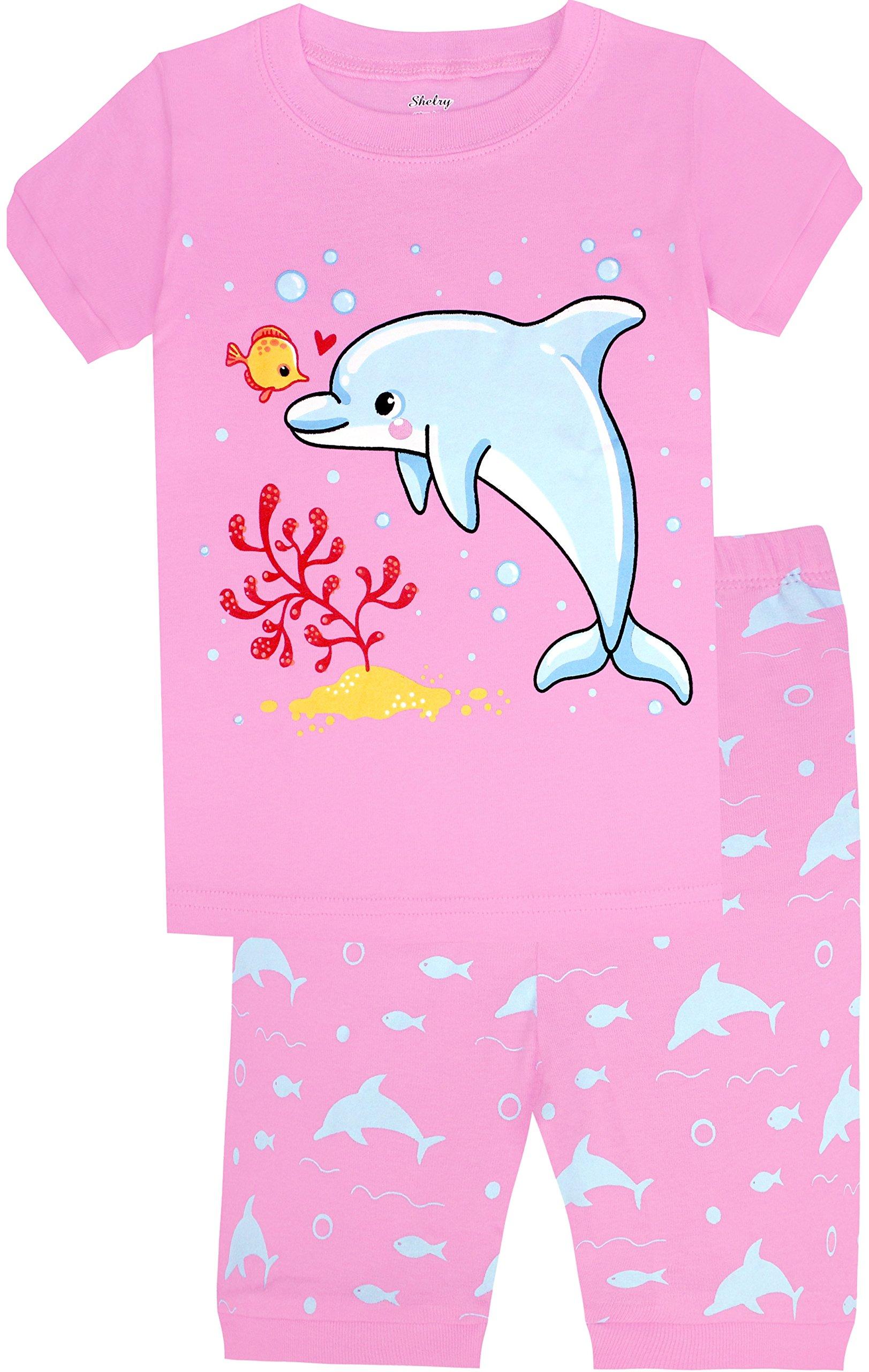 Children Dolphin Pajamas Girls Summer Short Sleeve PJs 3 Pieces Cotton Sleepwear Set Size 5T