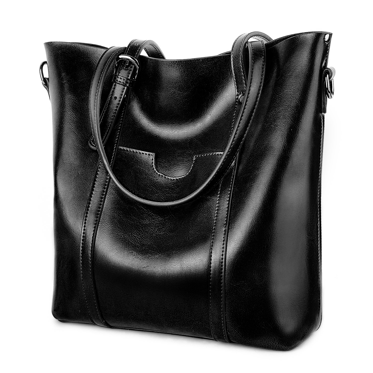 YALUXE Women's Vintage Style Soft Leather Work Tote High Style Shoulder Bag for Women black by YALUXE (Image #1)