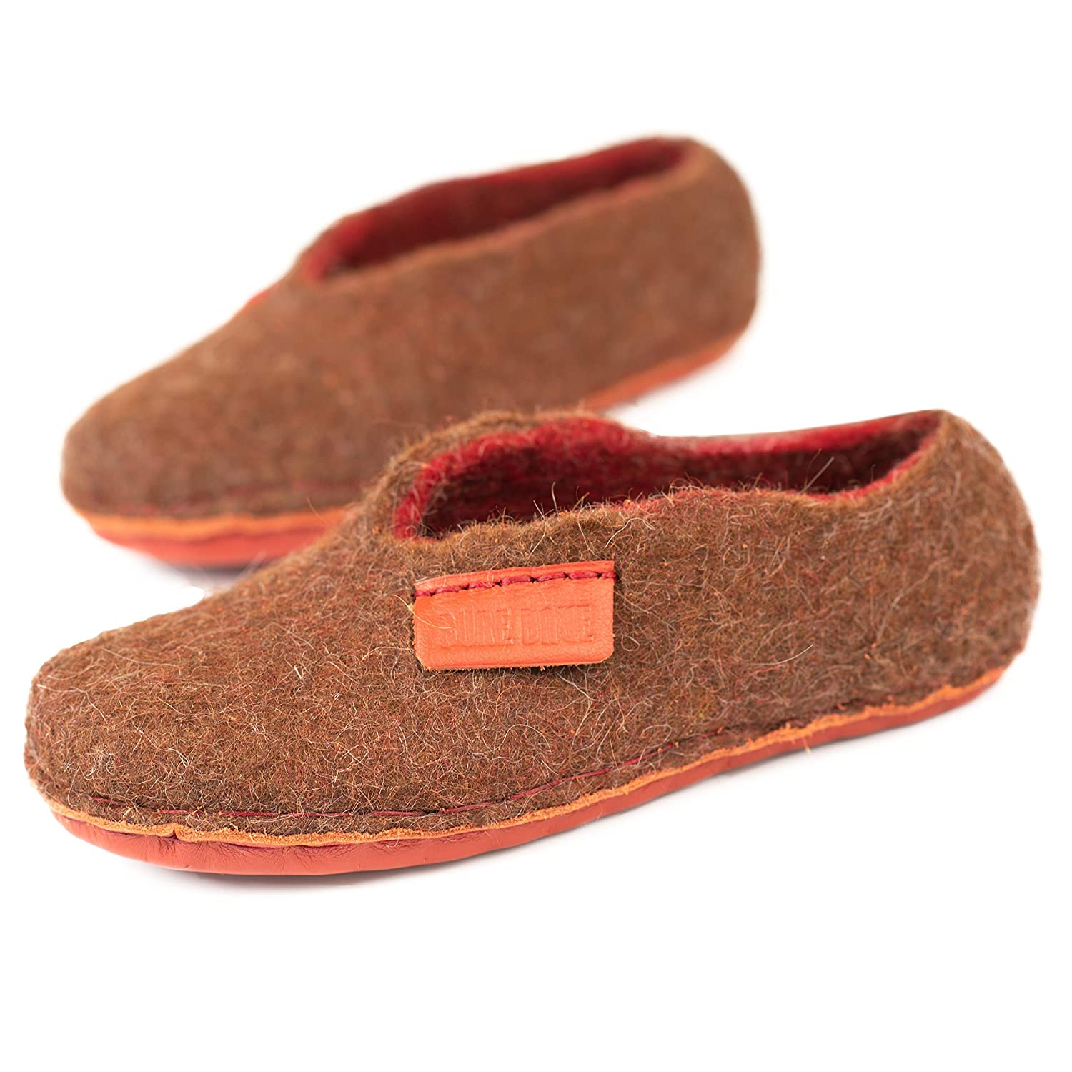 BureBure Kids Non slip brown red natural wool slippers handmade in Europe
