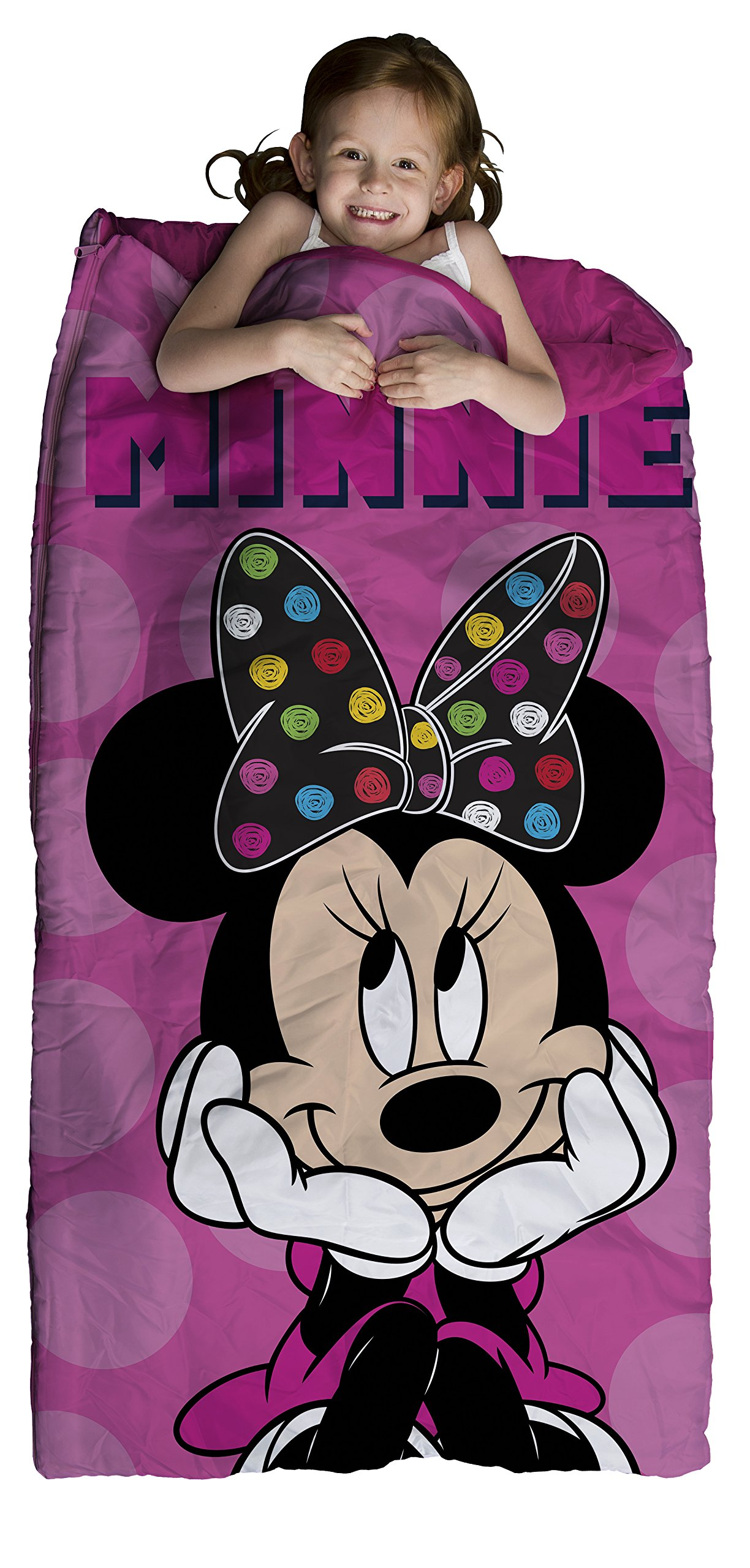 Disney Minnie Mouse Pink 2-Piece Plush Slumber Bag and Backpack Set, 30'' x 54''