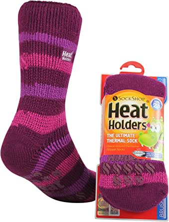 Heat Holders Kids Warm Winter Thermal Gripper Anti-Slip Socks 8 years plus