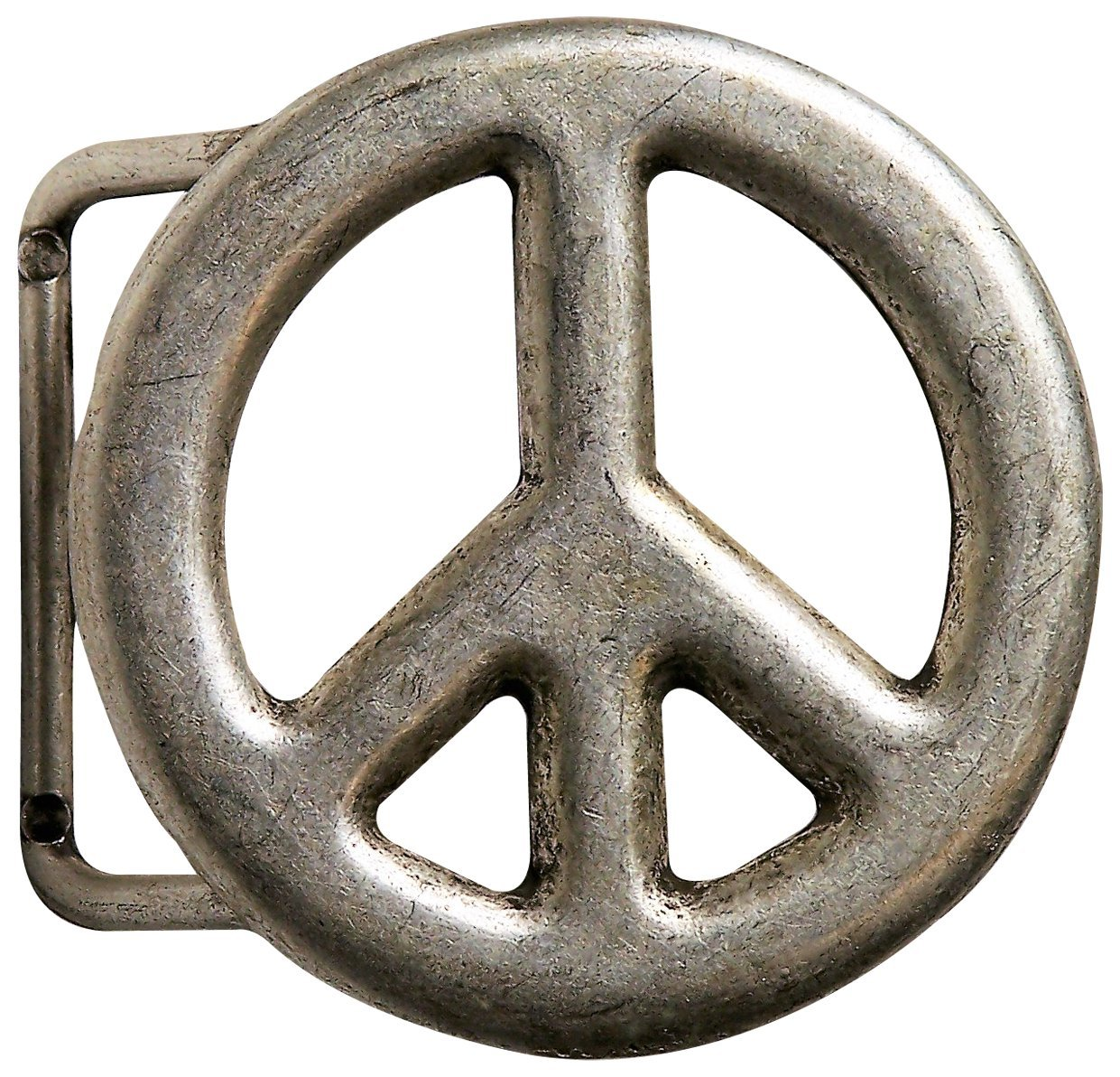 FRONHOFER Peace belt buckle, antique silver, 1.5'/4cm, peace symbol buckle 18183, Color:Silver color, Size:One Size 1.5' /4cm