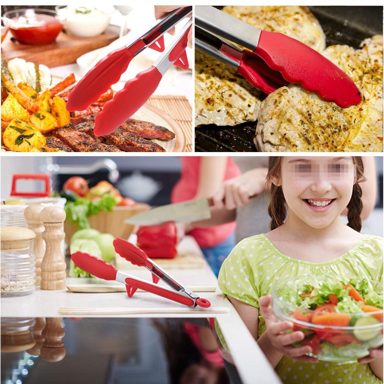 Phyles Pinzas de Cocina, Silicona de Cocina Premium Pinzas Antiadherentes 2 Pack 9 y 12 Pulgadas(Rojo)