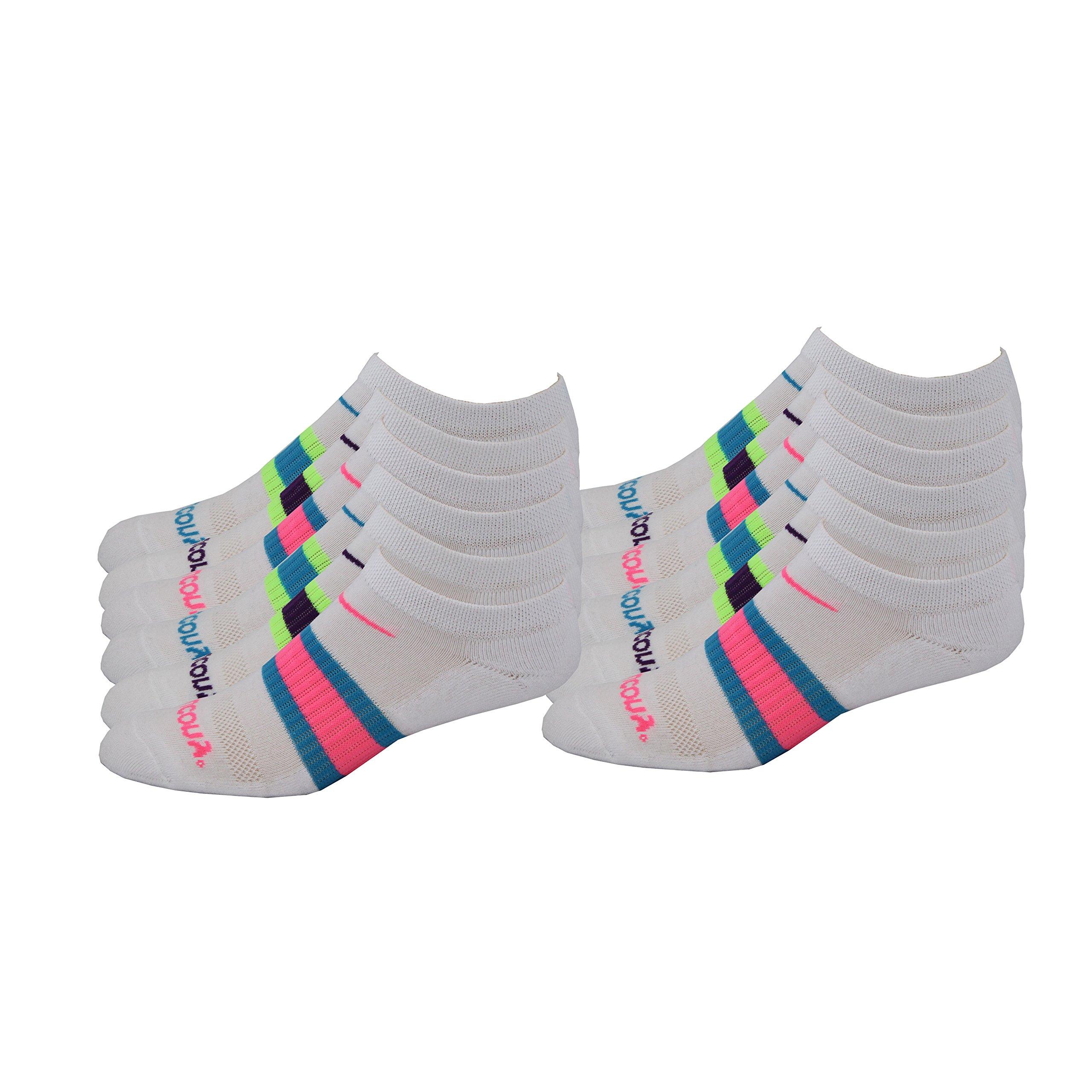 Saucony Women's Performance Arch Stripe No Show Socks, White Asst, W 6-10.5 Shoe, 12 Pair