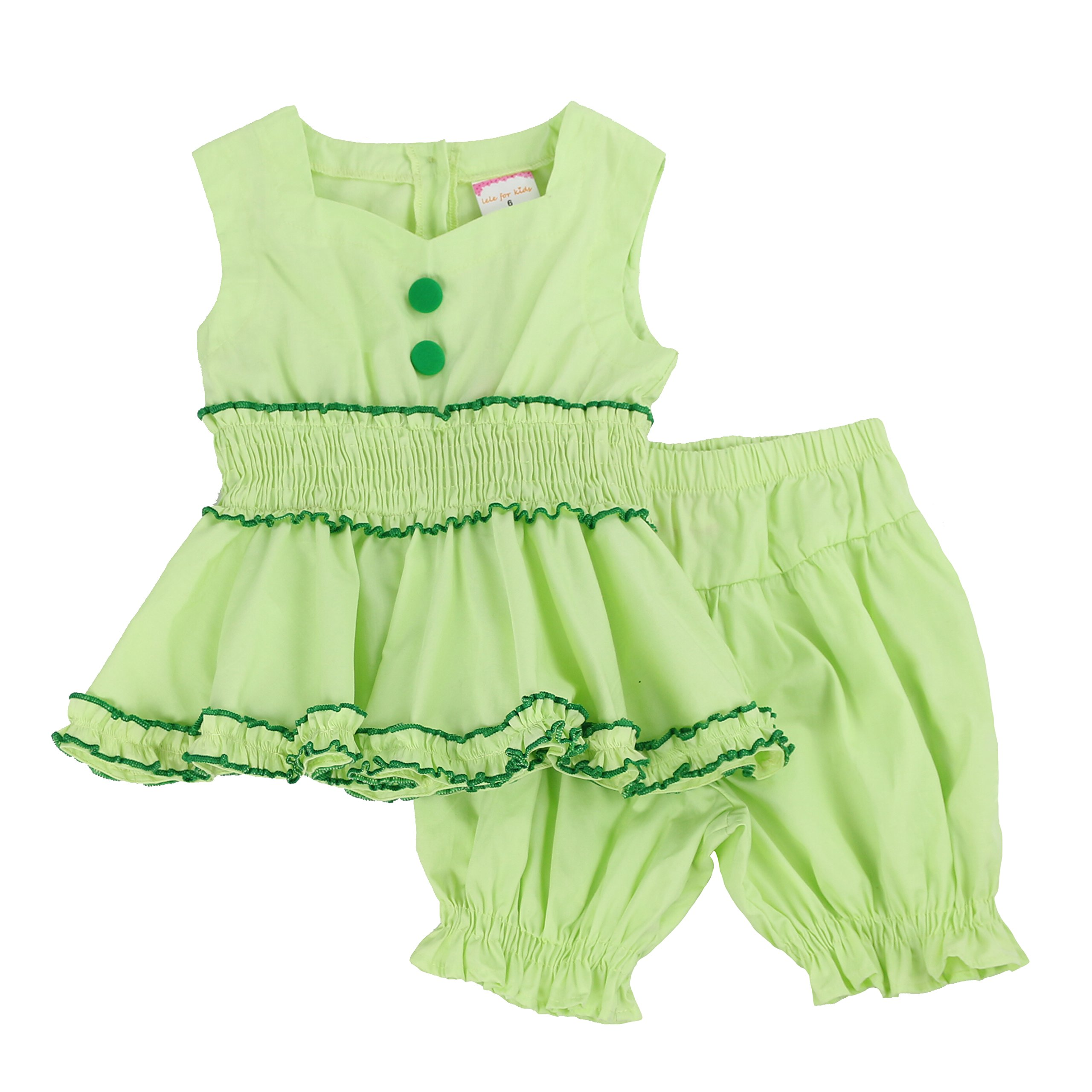 LELEFORKIDS - Toddlers and Girls Ozzy Babe Ruffled Bloomer Short Set in Lime Green 4T