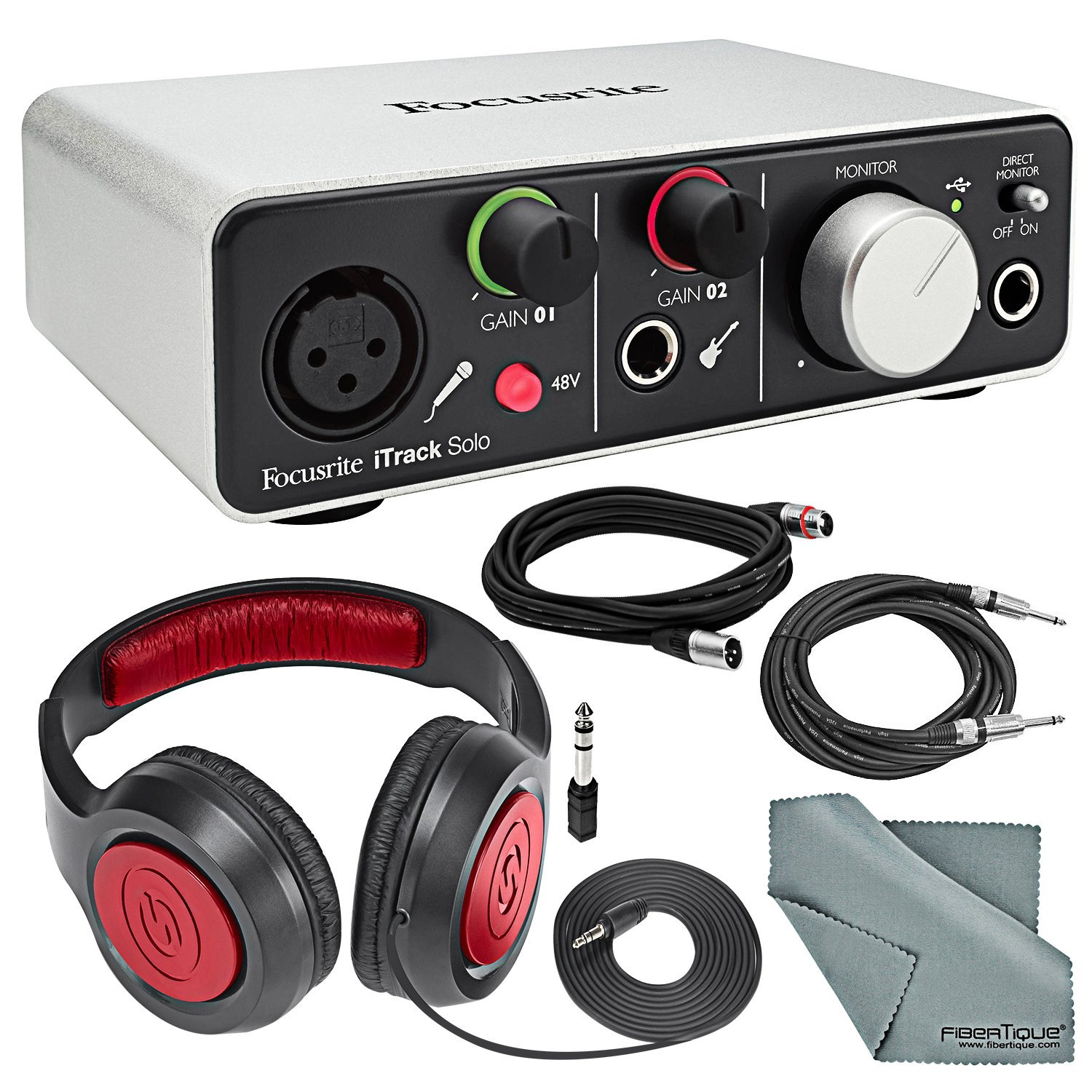 Focusrite iTrack Solo (Lightning) - USB 2.0 Audio Interface Bundle W/ XLR Cable +1/4 Inch Cable + Samson Headphones + FiberTique Cleaning cloth Focusrite / Photo Savings 4341090055