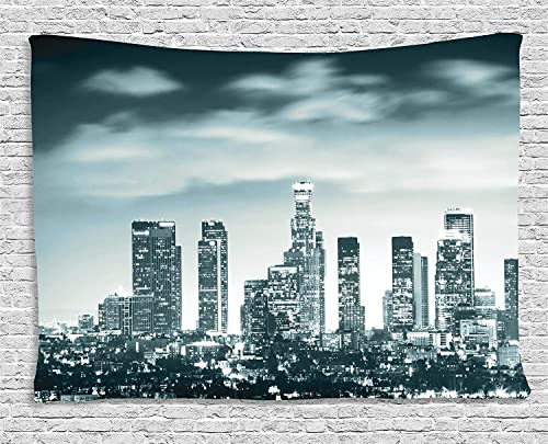 Ambesonne Night Tapestry, Urban Themed Los Angeles United States Skyline at Night Skyscrapers Digital Artwork, Wide Wall Hanging for Bedroom Living Room Dorm, 60 X 40 , Dark Green