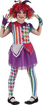 Generique - Disfraz de Payaso arlequín niña M 7-9 años (120-130 cm)