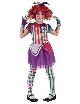 Generique - Disfraz de Payaso arlequín niña XS 3-4 años (92-104 cm ...