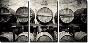"wall26 - 3 Piece Canvas Wall Art - Barrels Stacked in The Winery in Black and White - Modern Home Art Stretched and Framed Ready to Hang - 24""x36""x3 Panels"