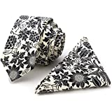 100% Cotton Handmade Skinny Floral Tie with Pocket Square Gift Set (16 Designs)