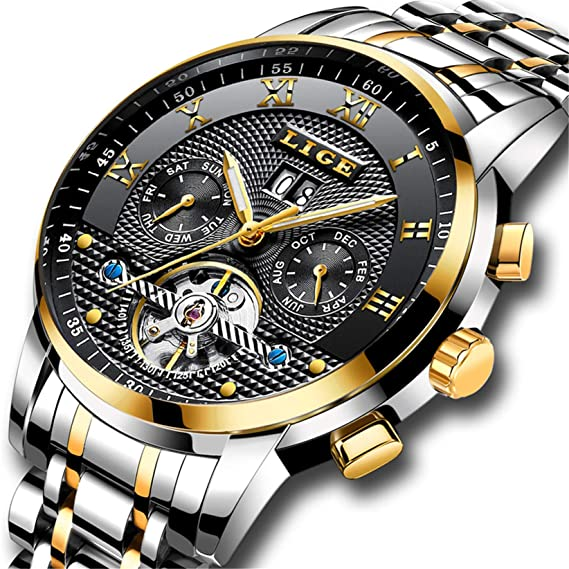 LIGE Relojes Hombre Moda Acero Inoxidable Impermeables Mecánico Automático Reloj Hombre Lujoso Comercio Calendario Militar Deportivo con Números ...