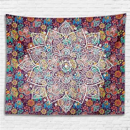 Amazoncom Hontod Floral Medallion Boho Elephant Wall Tapestry Dorm