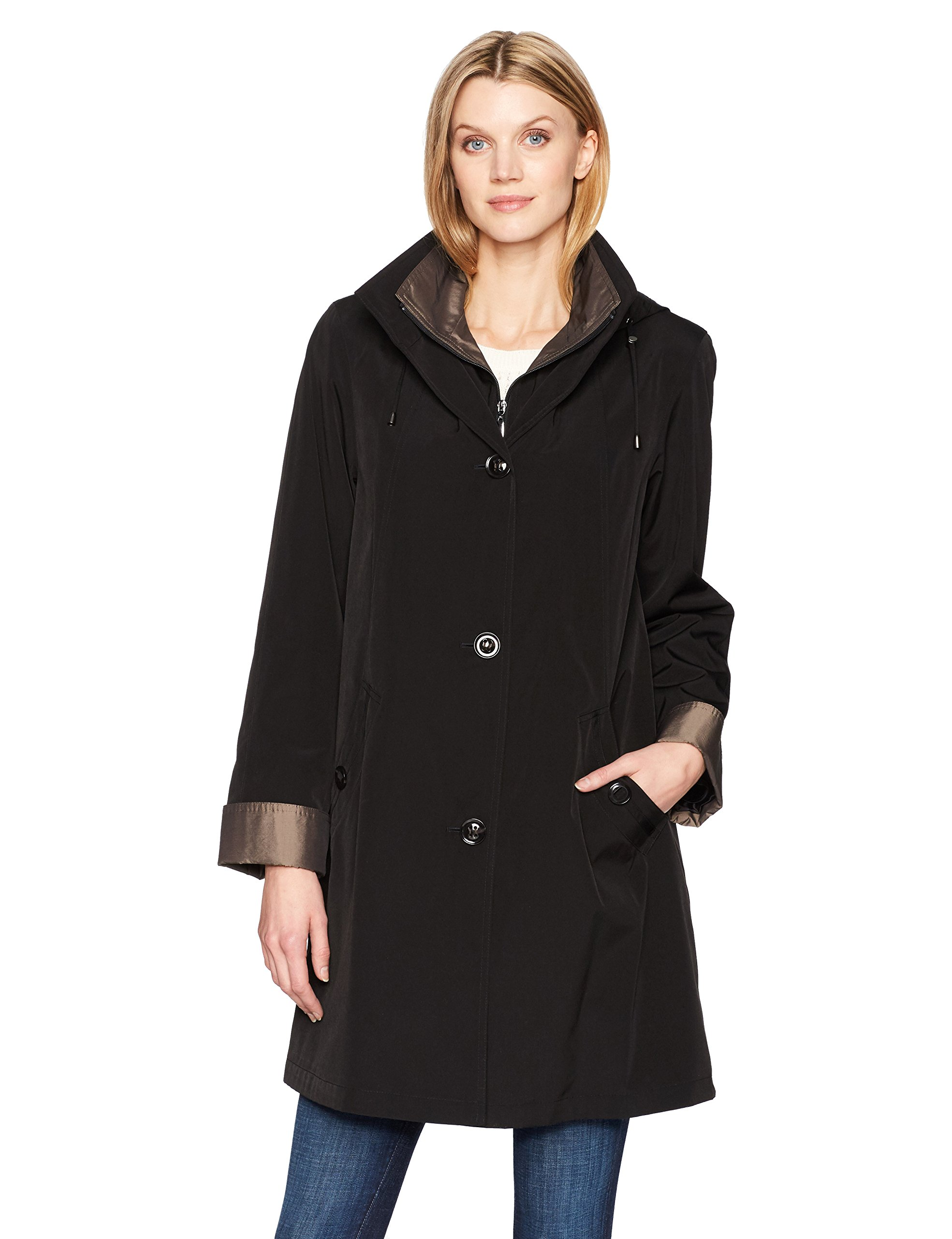 Gallery Women's 3/4 a Line Single Breasted Rain Coat, Black, Small by Gallery (Image #1)