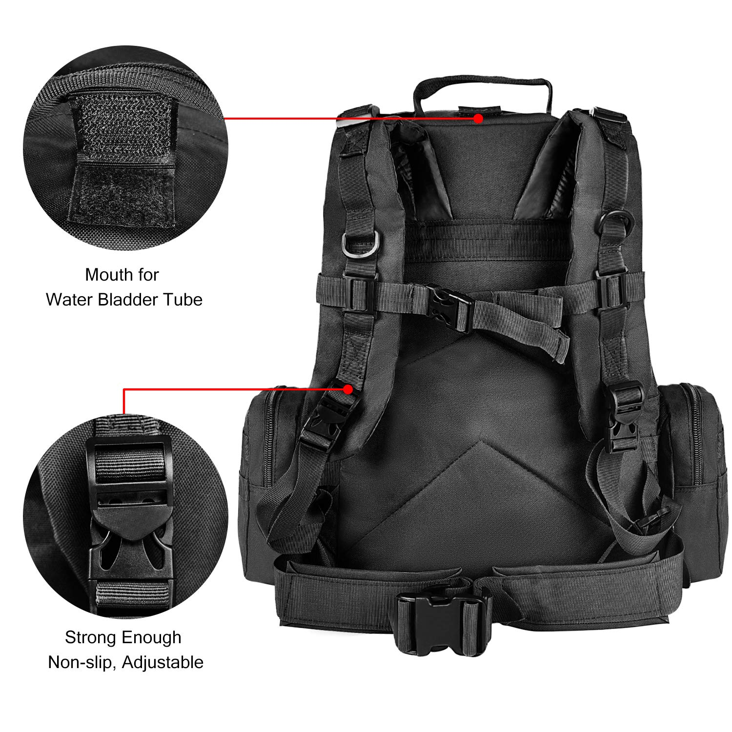CVLIFE Tactical Military Backpack 60L Built-up Army Rucksacks Outdoor 3 Day Assault Pack Combat Molle Backpack for Hunting Hiking Fishing with Flag Patch Black by CVLIFE (Image #8)