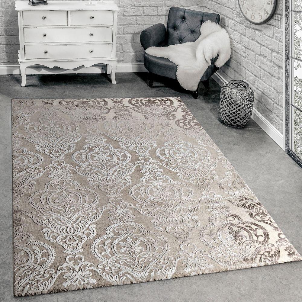Paco Home Designer Teppich Moderne Orient Muster 3D Wohnzimmerteppich Beige Creme, Grösse 160x230 cm