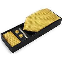 DON GIOVANI Men's Yellow Color 4 Piece Set (Neck Tie,Cufflink,Pocket Square,Tie Pin)