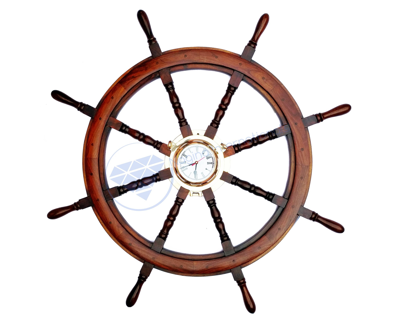 42'' Polystone Finish Large Pirate's Nautical Ship Wheel With Heavy Brass Porthole Time's Clock | Maritime Ocean Navigational Decor Gift | Nagina International