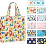 YIHONG Reusable Grocery Bags with Pouch,10 Pack Foldable Reusable Shopping Bags,Large Capacity Cloth Tote Bags, Durable and Machine Washable