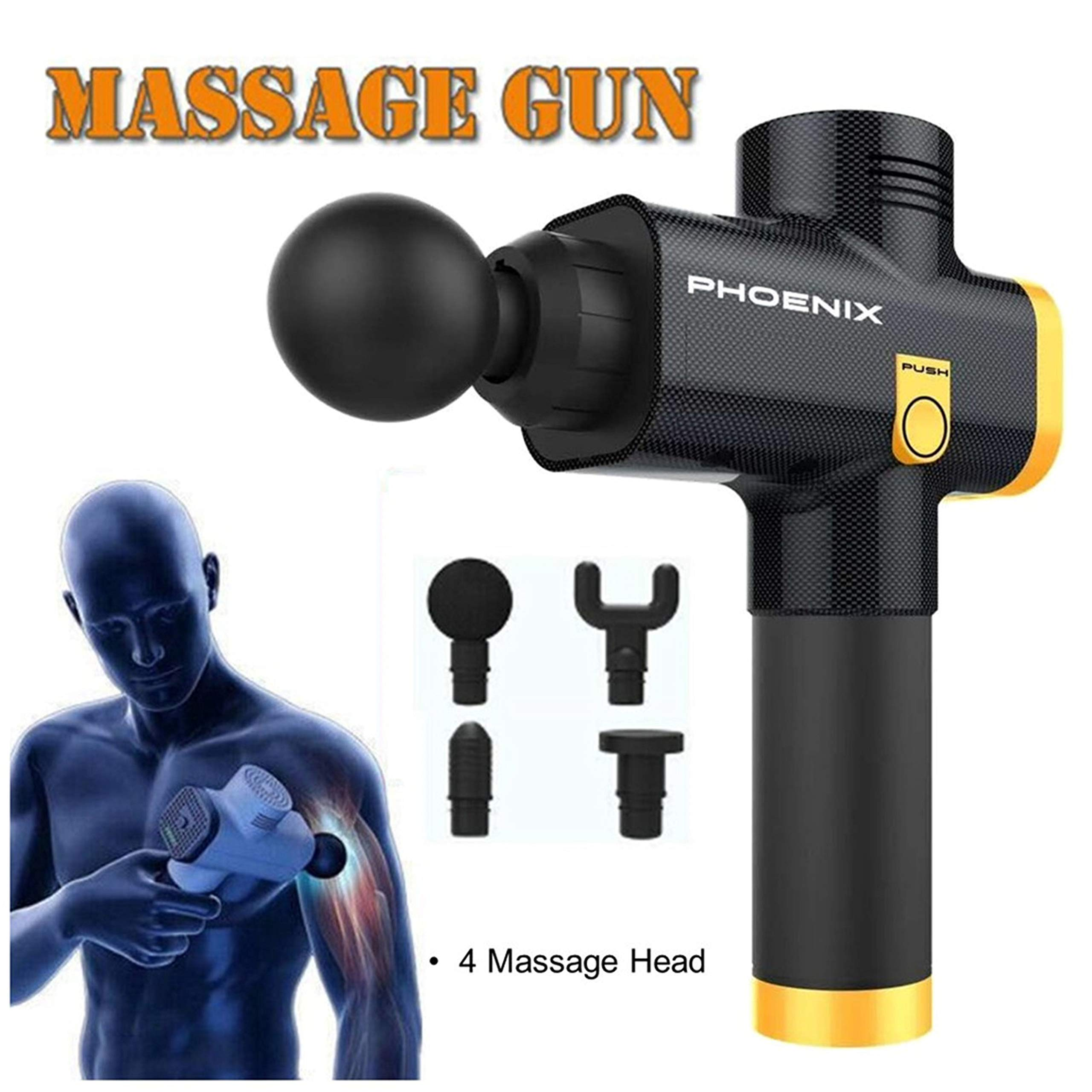 Muscle Massage Gun, Powerful Handheld Personal Cordless Deep Tissue Muscle Massager with 4 Kinds Massage Heads for Muscle Tension Pain Relief (Black) by PHOENIX VITAL LIFE