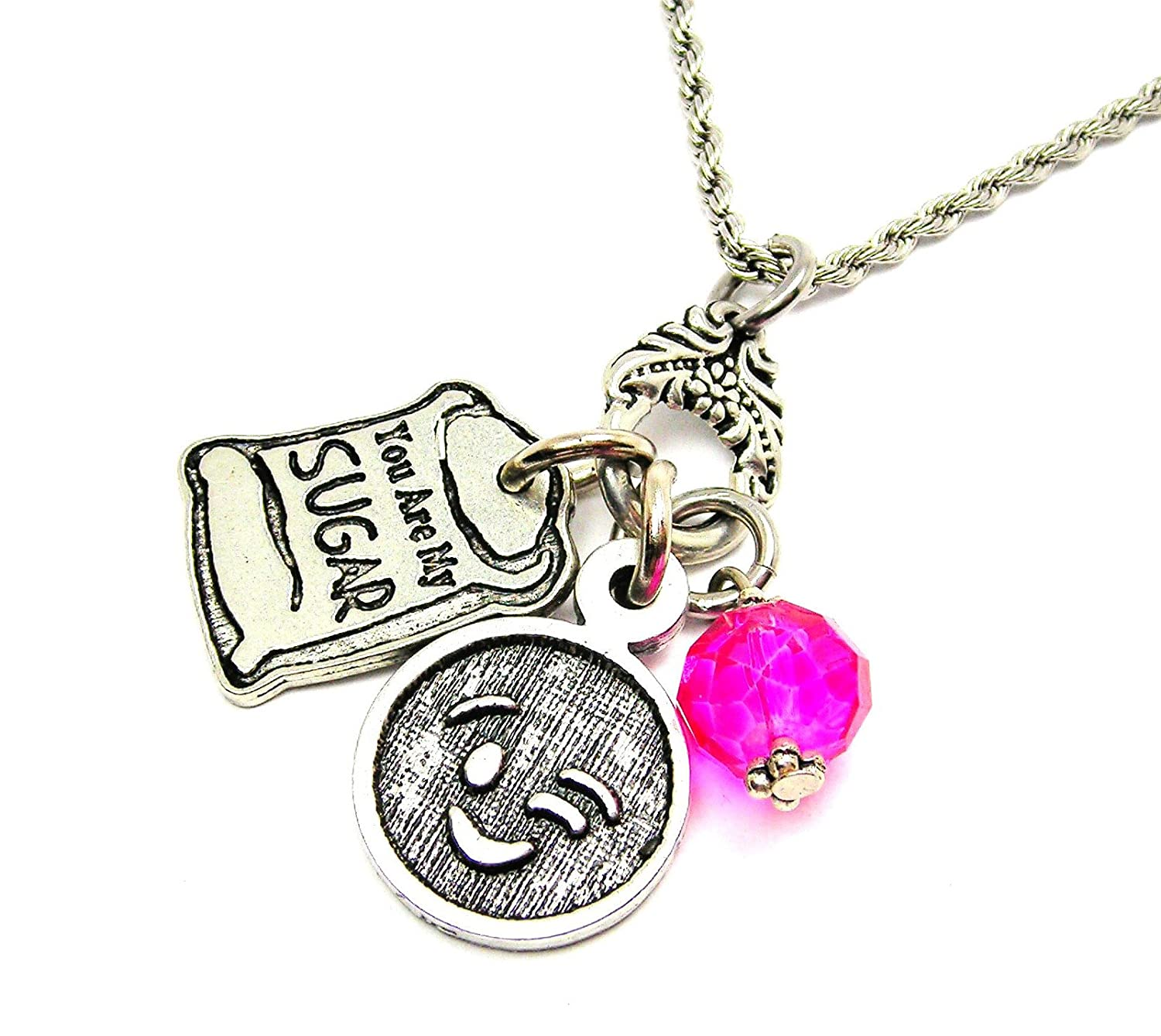 Chubby Chico Charms Exclusive You Are My Sugar 20 Stainless Steel Rope Chain in Hot Pink