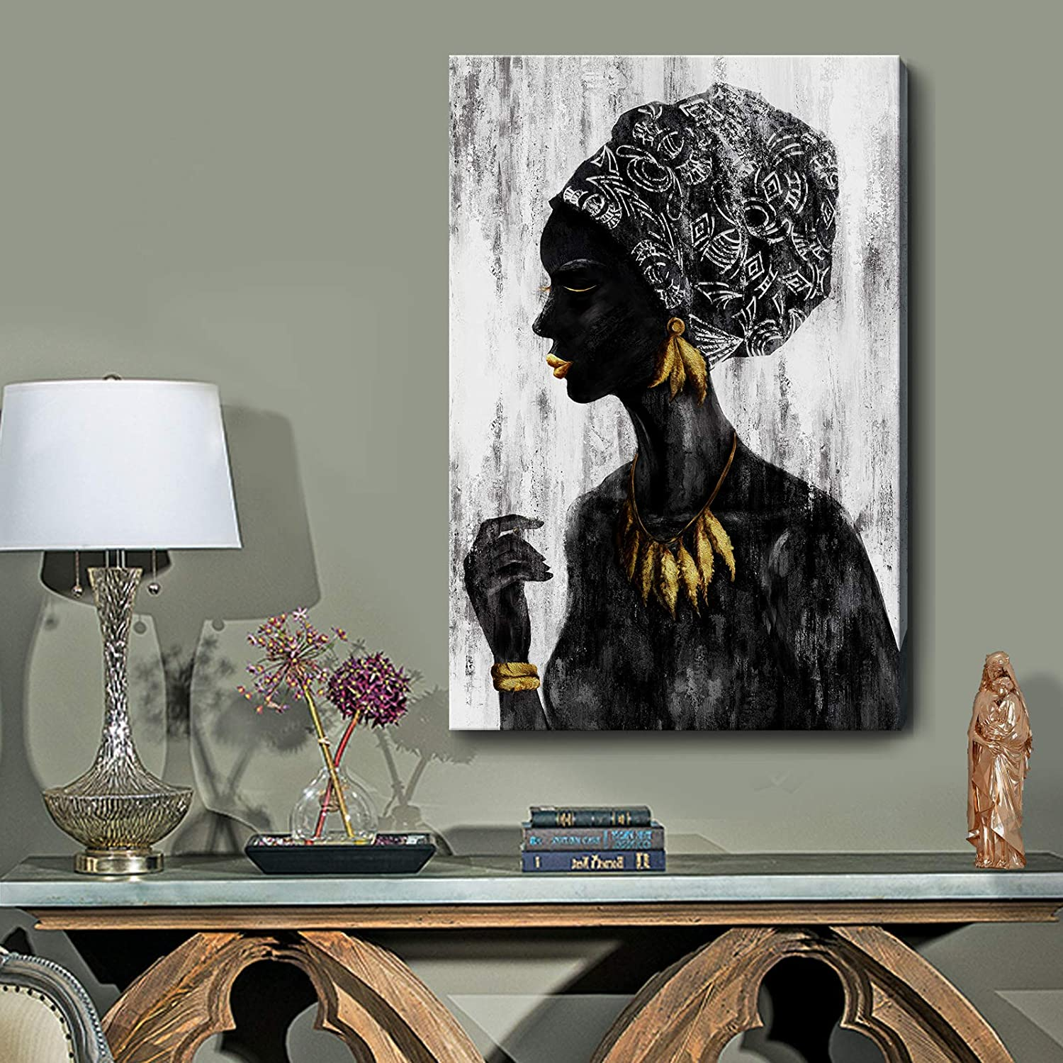 Black and White Wall Art African American Framed Retro Wall Picture Traditional Women Girl with Gold Accessories Wall Picture Tribal African Female Portrait Artwork for Home Bathroom Bedroom Vintage Décor
