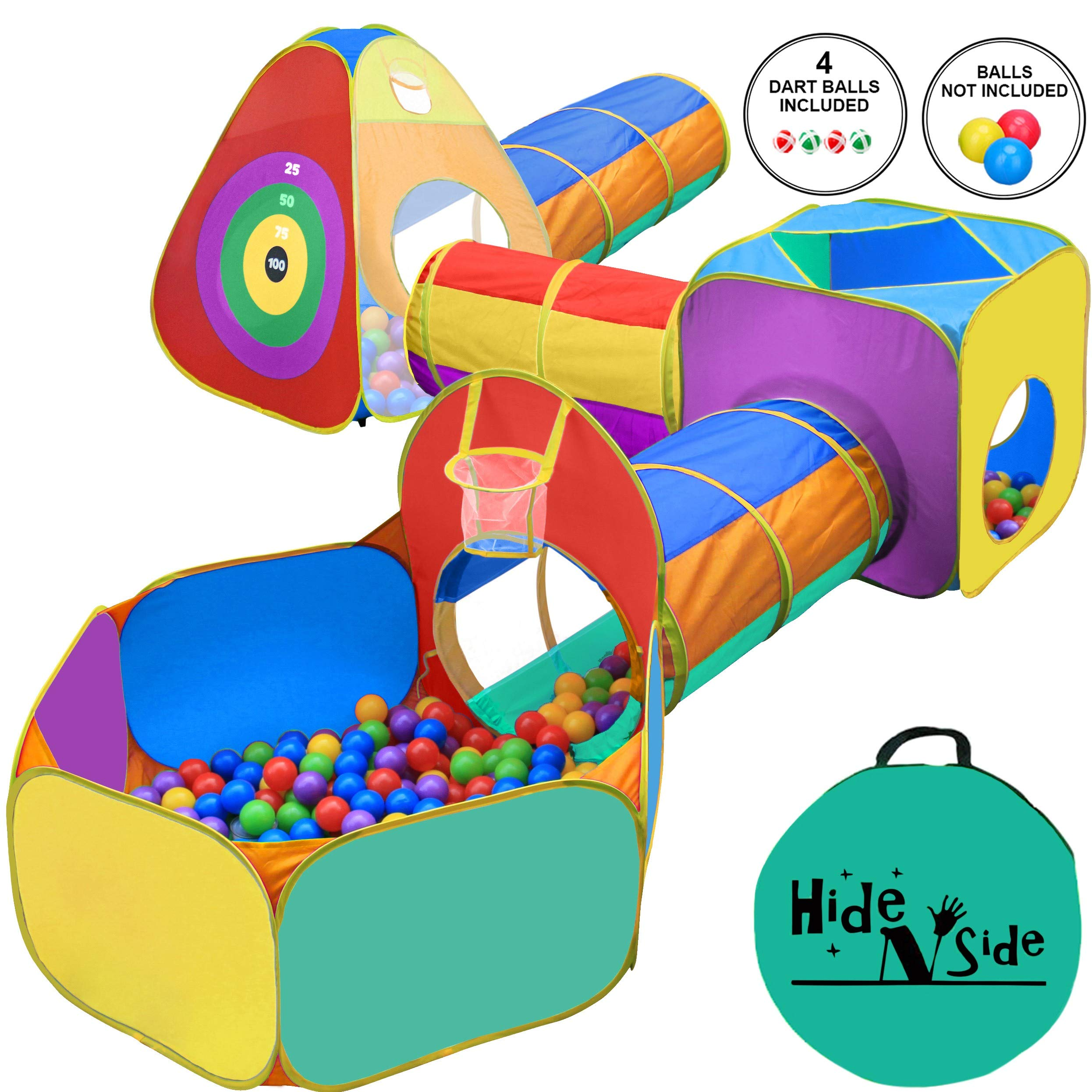 Gift for Toddler Boys & Girls, Ball Pit, Play Tent and Tunnels for Kids, Best Birthday Gift for 1 2 3 4 5 Year old, Pop Up Baby Play Toy, Target Game w/ 4 Dart balls, Indoor & Outdoor Use, Storage Bag by Hide N Side