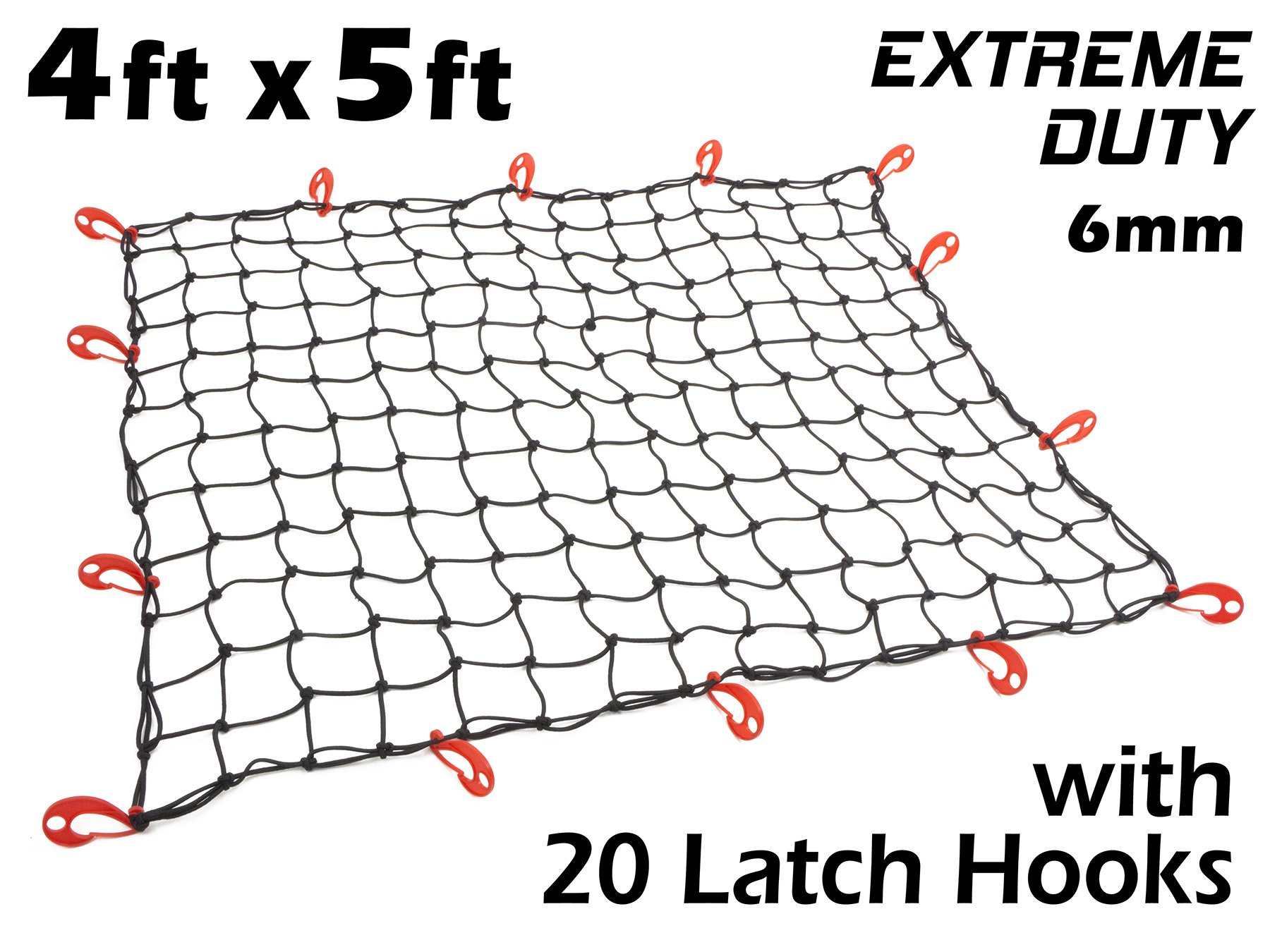4ft x 5ft PowerTye Mfg EXTREME Duty 6mm Bungee Elastic Cargo Net with Latch Hooks| Stretches to 72'' x 90'' | 20 Large Latching Hooks, Black Net by Powertye