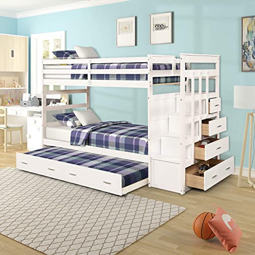 Bunk Bed for Kids, Twin Over Twin Bunk Bed with Trundle and Staircase, Trundle Bed with Rails White