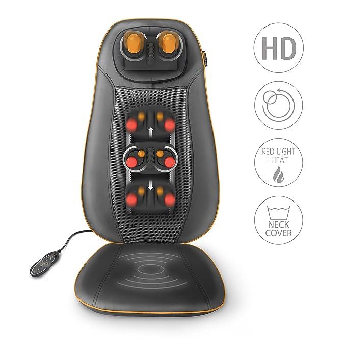 Medisana MCN Shiatsu Cojín de masaje con 3 zonas de masaje, función calor, luz roja, ajustable en altura, adecuado para cualquier silla con mando a ...