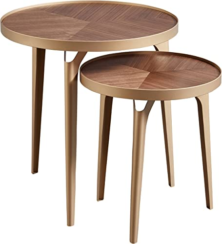 Amazon Brand Rivet Mid-Century Nesting Metal Side Table, Set of 2, Brass and Walnut