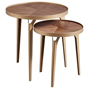 Rivet Mid-Century Nesting Metal Side Table, Set of 2, Brass and Walnut