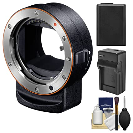 Sony Alpha LA-EA3 Adapter (Attach A-Mount Lenses to E-Mount Full Frame  Camera) with NP-FW50 Battery & Charger + Kit