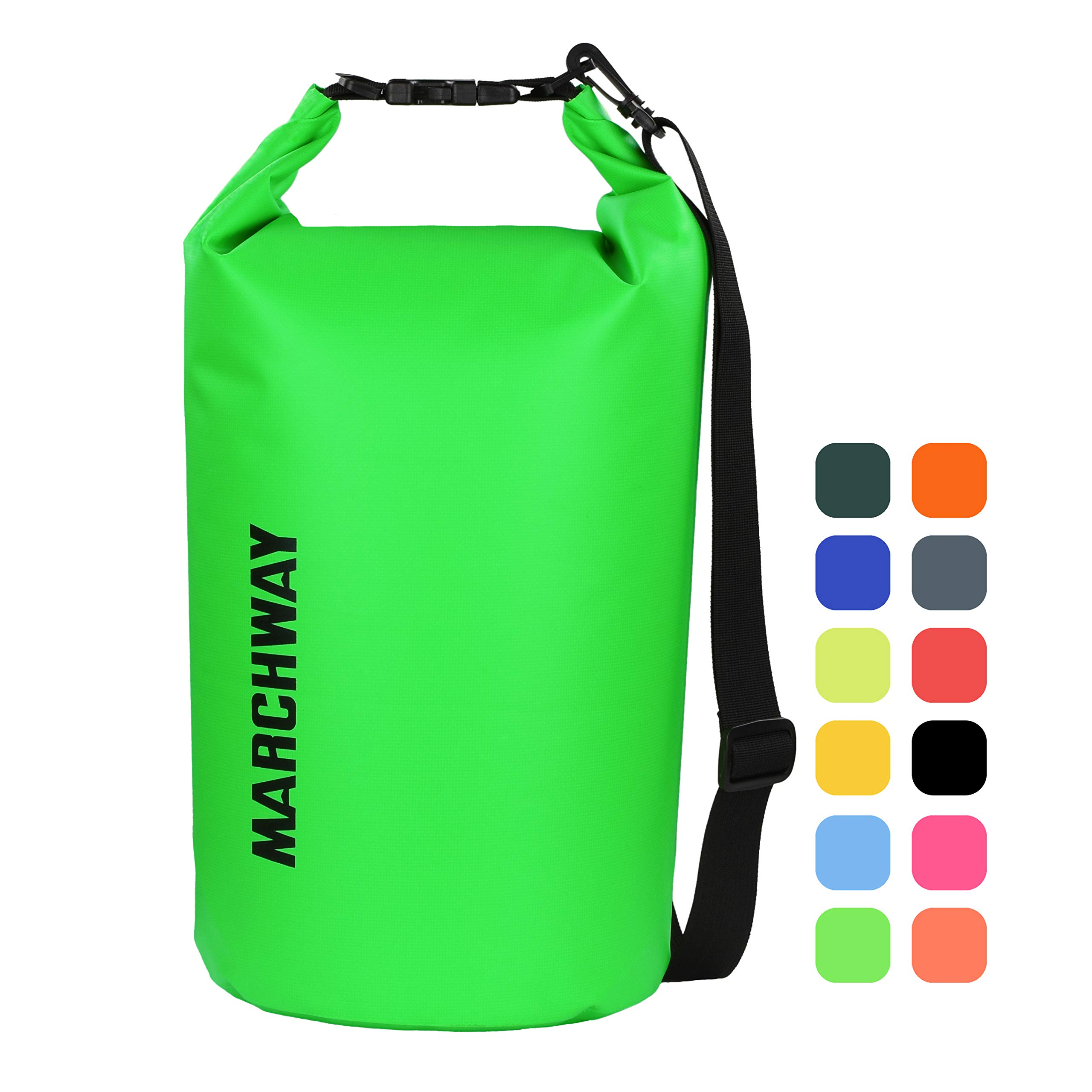 Floating Waterproof Dry Bag 5L/10L/20L/30L/40L, Roll Top Dry Sack for Marine Kayaking Rafting Boating Swimming Camping Hiking Beach Fishing Skiing Snowboarding Hunting Climbing Surfing (Green, 20L) by MARCHWAY