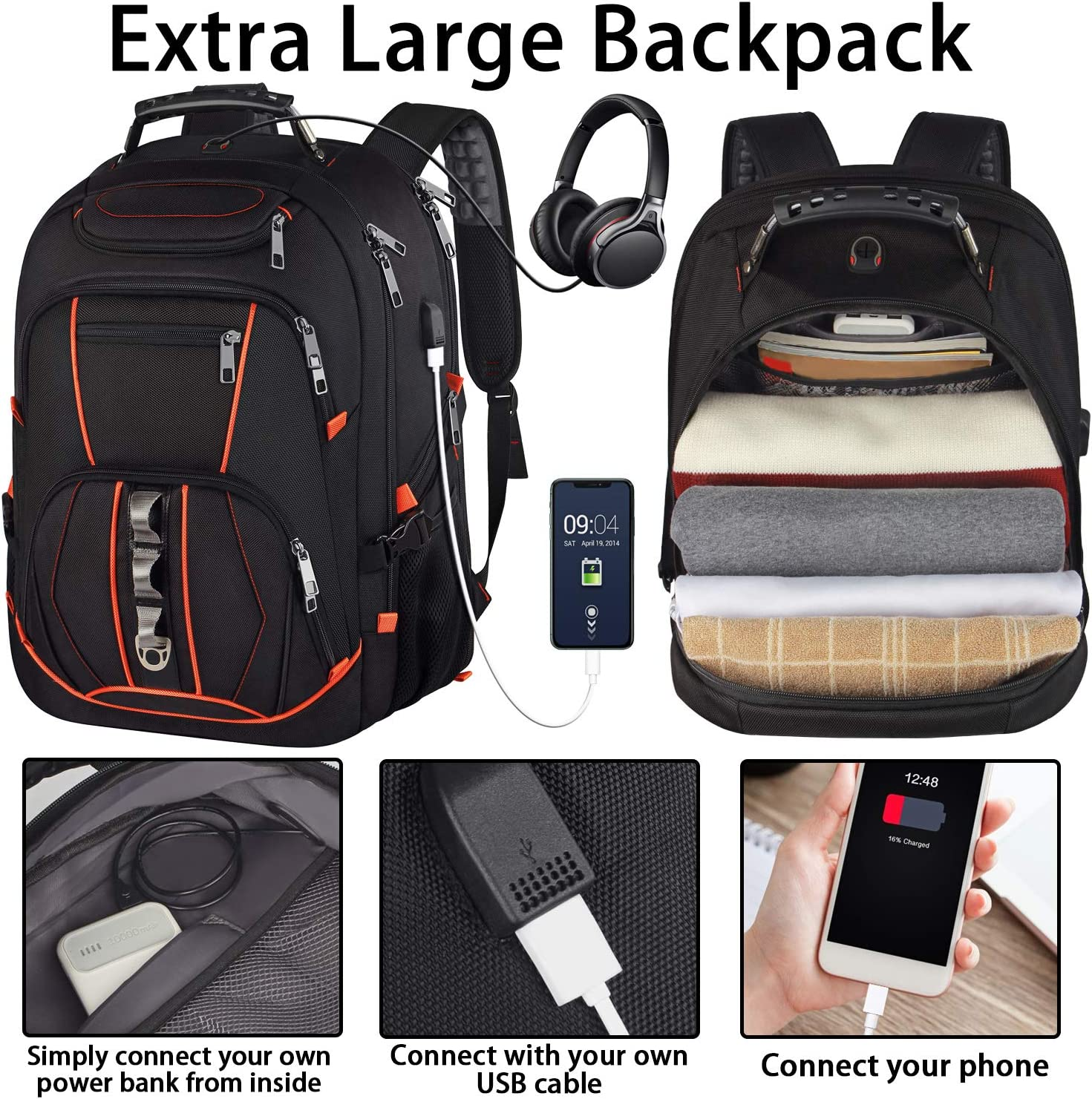 Travel Laptop Backpack,Extra Large 18.4 inch Gaming Laptop Backpacks with USB Charging Port,Big Capacity TSA Friendly RFID Anti Theft Pocket Durable College School Heavy Duty Computer Bookbag for Men