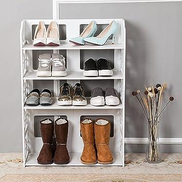 Dline 4 Tiers Wood Plastic Composite Shoe Rack Space Saving Shoe Tower  Cabinet Storage Organizer