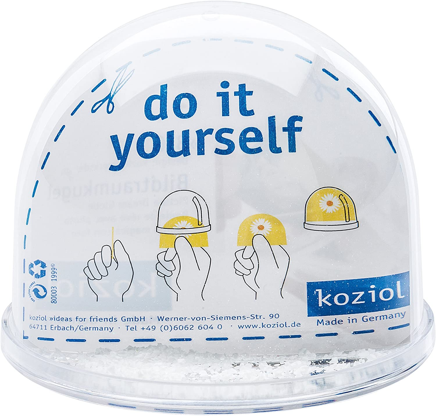 Koziol 6222101 Boule /à Neige avec Photo Big 9x9x7,5 cm Transparent Plastique