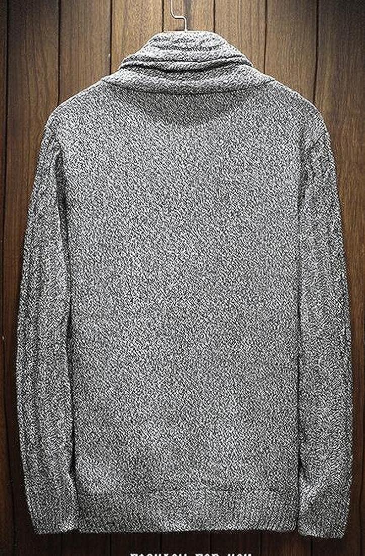 xtsrkbg Mens Shawl Collar Open Button Up Cardigan Tweed Knitting Sweater 1 XXS
