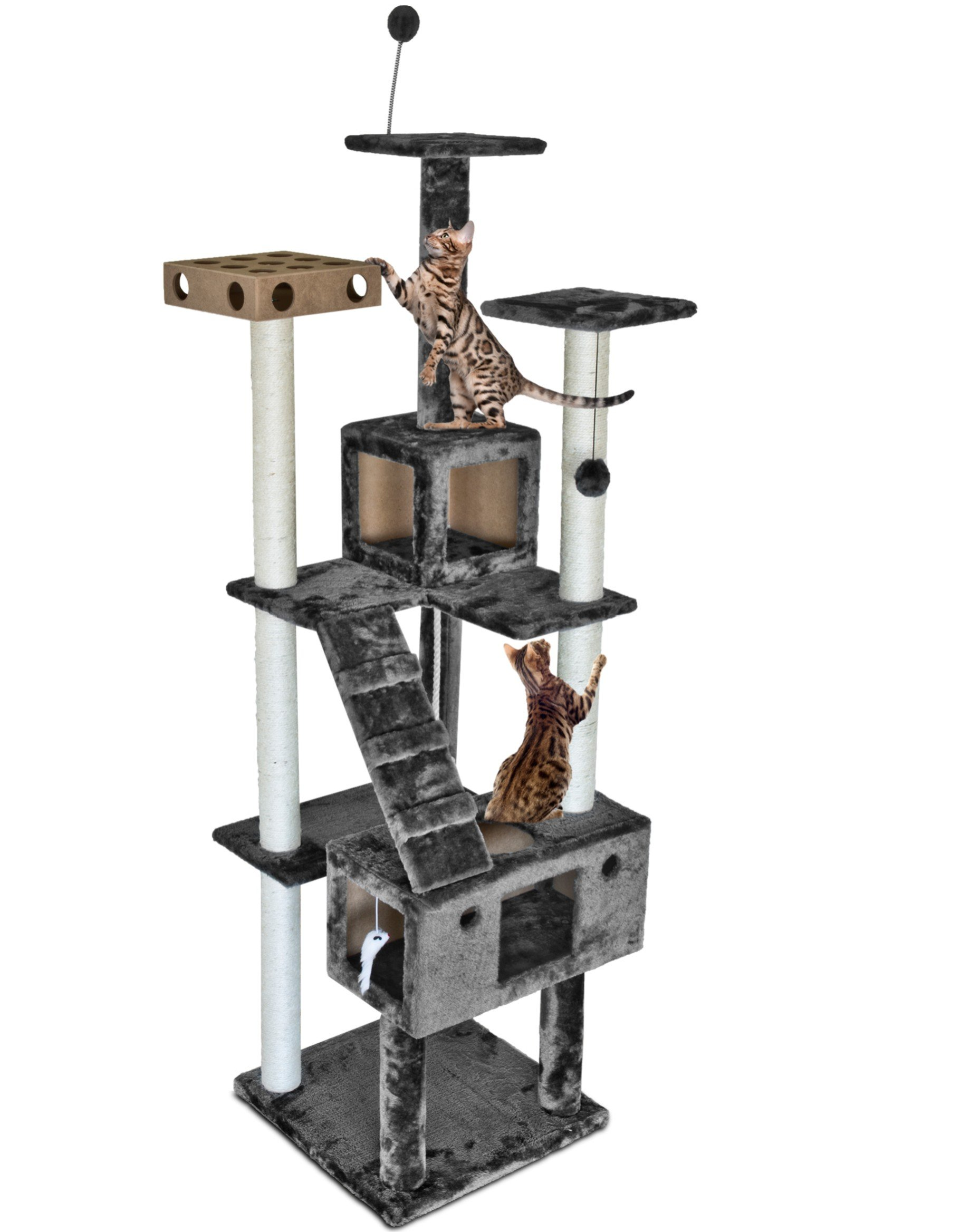 Furhaven Tiger Tough Cat Tree House Furniture for Cats and Kittens, Double Decker Playground, Gray