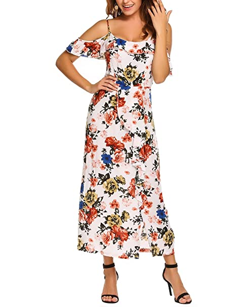 3d09aea1b119 Image Unavailable. Image not available for. Color: Finejo Women's Summer  Sexy Shoulder Ruffles Casual Floral Print Split Maxi Party Dress