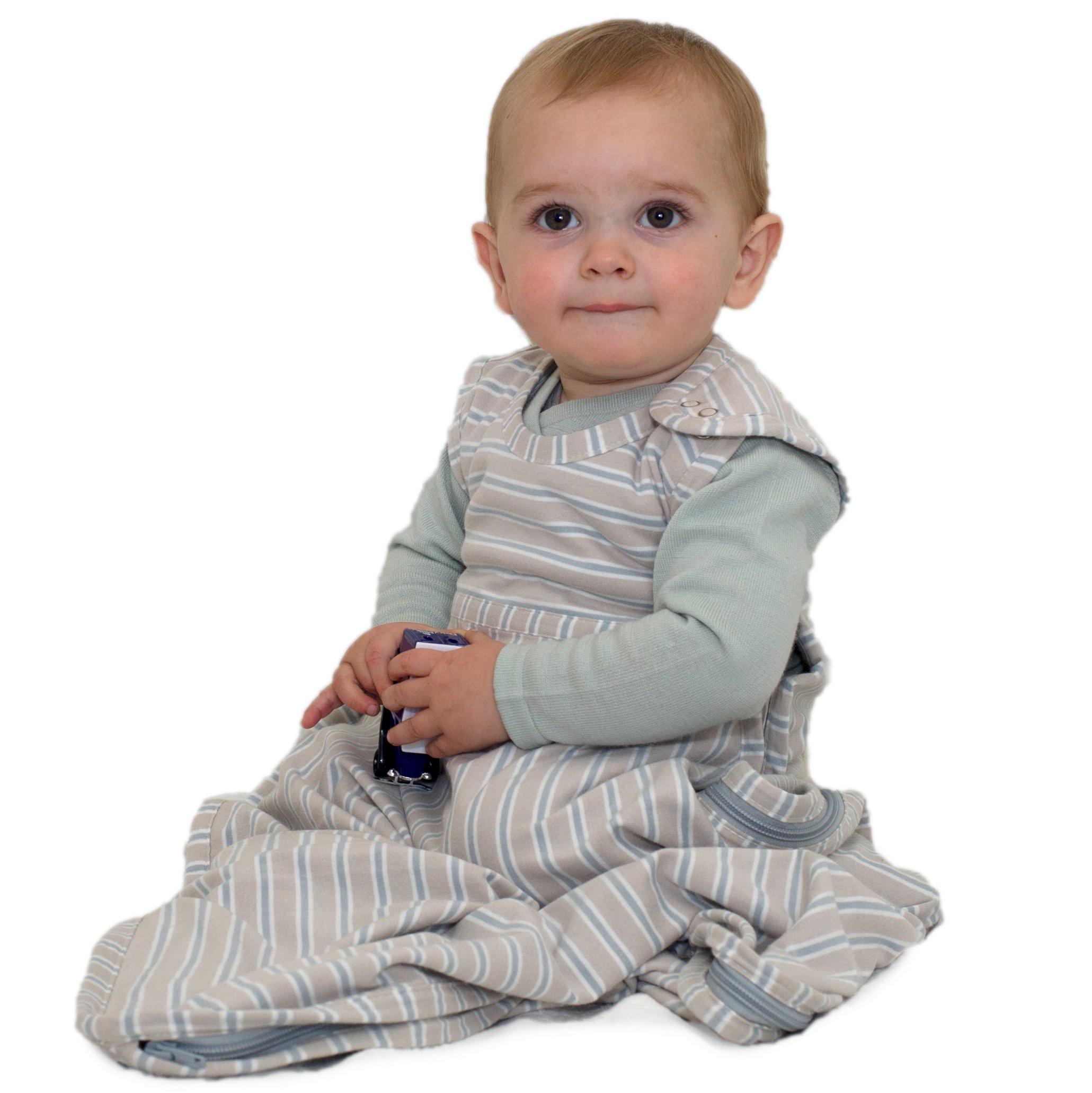 Merino Kids Baby Sleep Bag for Babies 0-2 Years, Light Grey/Grey Stripe