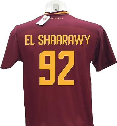Camiseta de fútbol El Shaarawy 92 Roma réplica autorizada 2017-2018 para niño (tallas 2, 4, 6, 8, 10, 12), adulto (S, M, L, XL) Nombre y número impresos con termoadhesivo naranja (10 años): Amazon.es: Ropa y accesorios