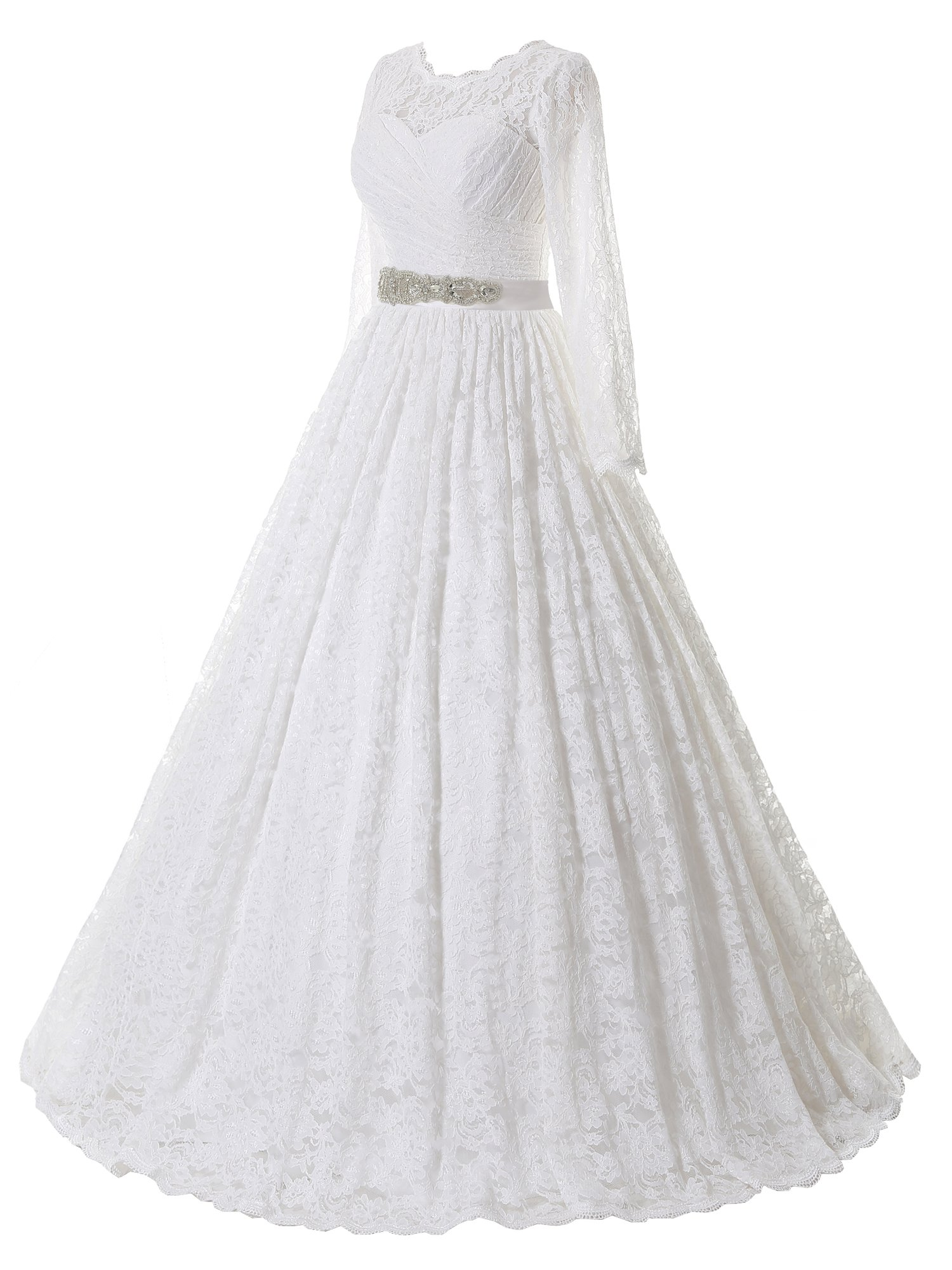 Home Bride Dresses SOLOVEDRESS Women s Ball Gown Lace Princess Long Sleeves  Wedding Dress Sash Beaded Bridal Gown (US 20 Plus 61d88fb7d