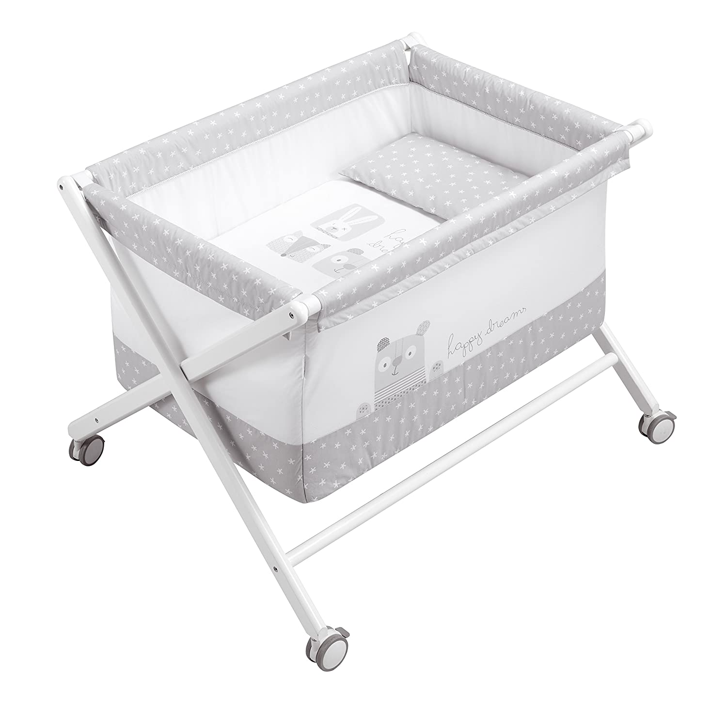 Petit Praia Bobo Crossed Wooden Bassinet (50 x 80 x 72 cm, White) E531 16600