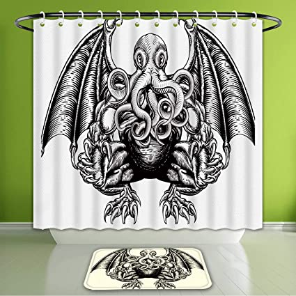Waterproof Shower Curtain And Bath Rug Set A Cthulhu Monster On The White Background Black Sketch