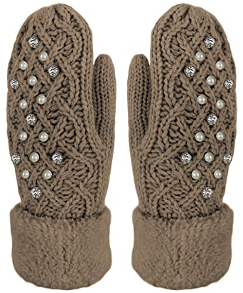 c01bc15d2260c3 Handschuhe Fäustlinge mit Perlen und Strass Strick Handschuhe Teddyfutter Farbe  Braun