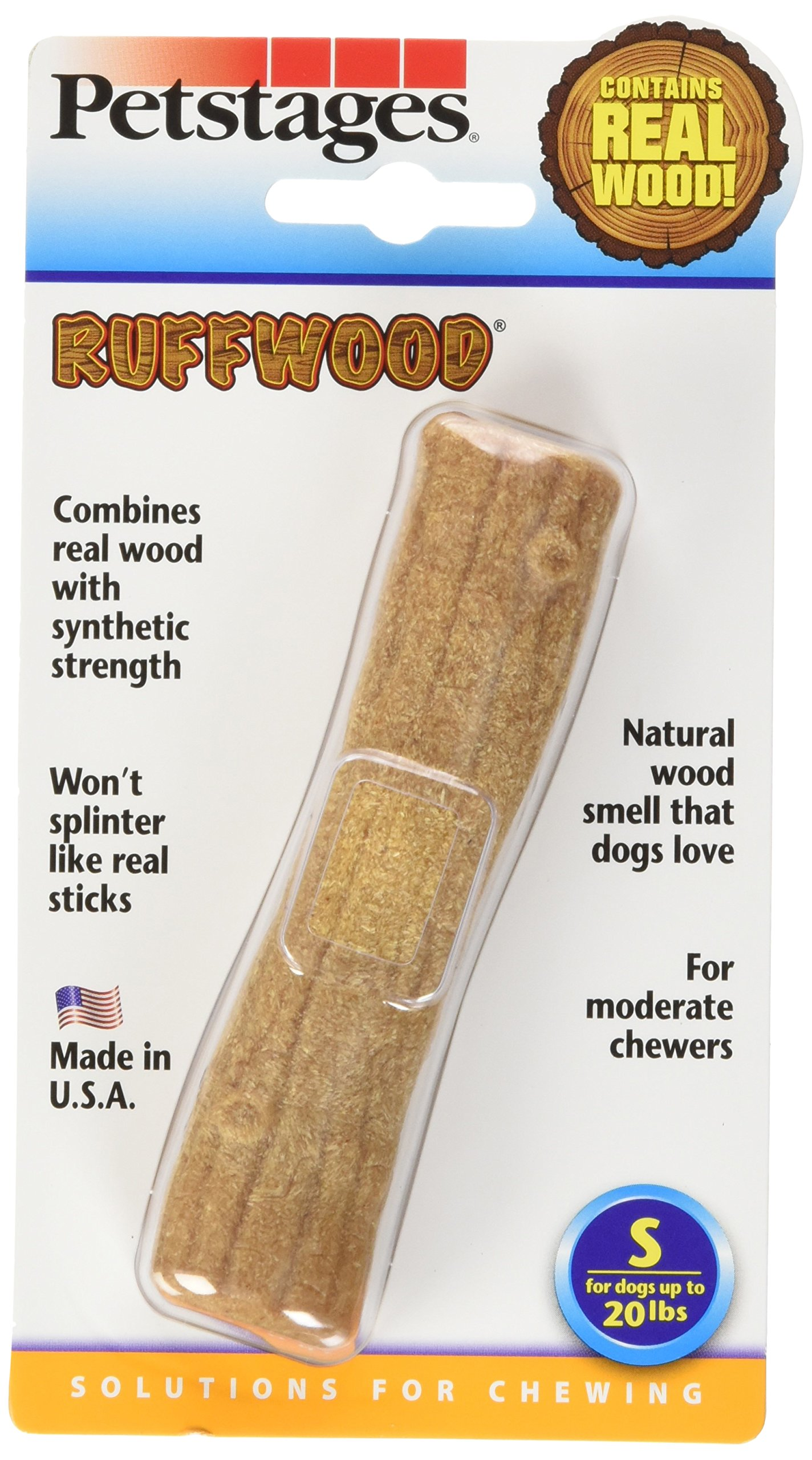 Petstages 490 Ruffwood Wooden Dog Chew Toy, Small