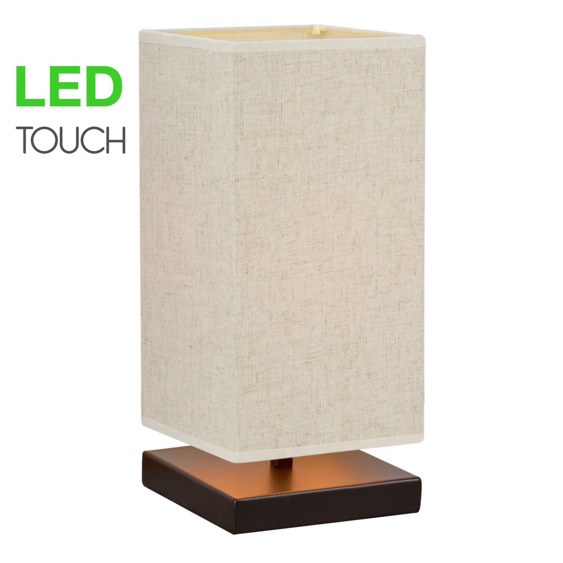 Revel/Kira Home Lucerna 13'' TOUCH Bedside Table Lamp + 4W LED Bulb (40W eq.) Energy Efficient, Eco-Friendly, Honey Beige Shade