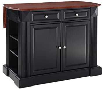 Crosley Furniture Drop Leaf Kitchen Island/Breakfast Bar   Black