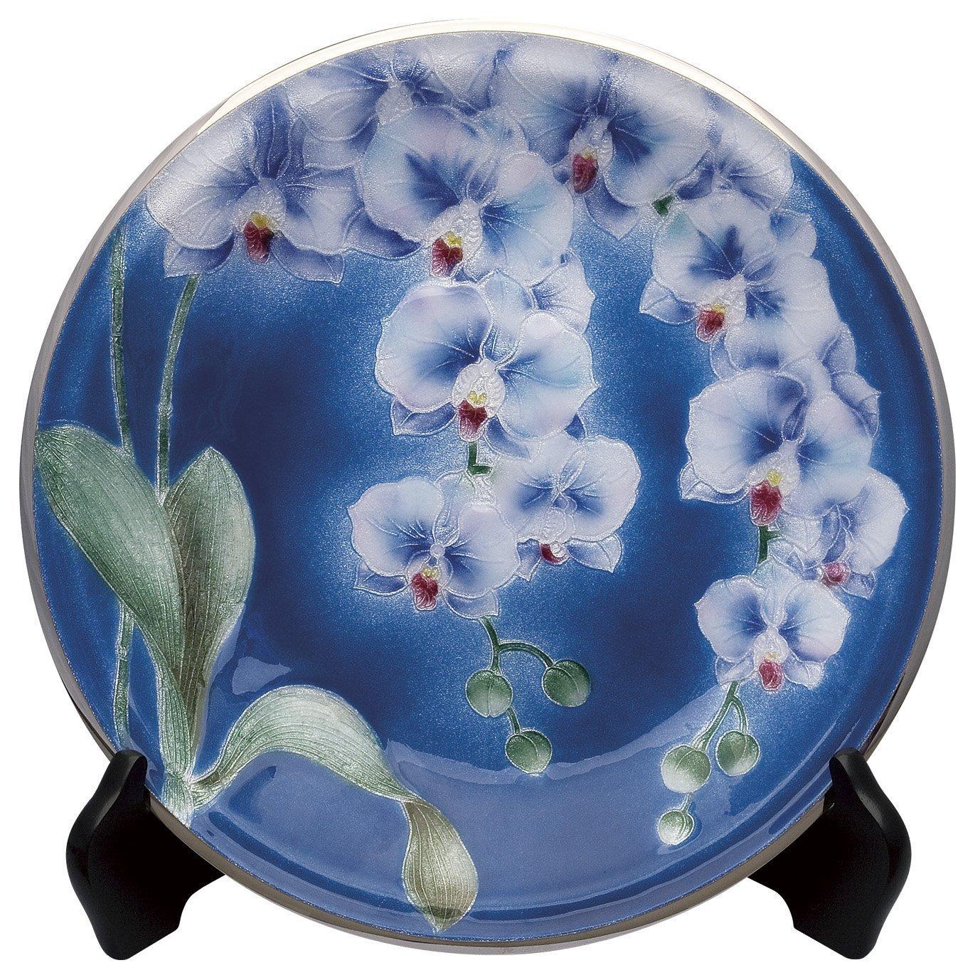 七宝焼 10 丸胡蝶蘭 飾り皿 106-03 B07698YDVW